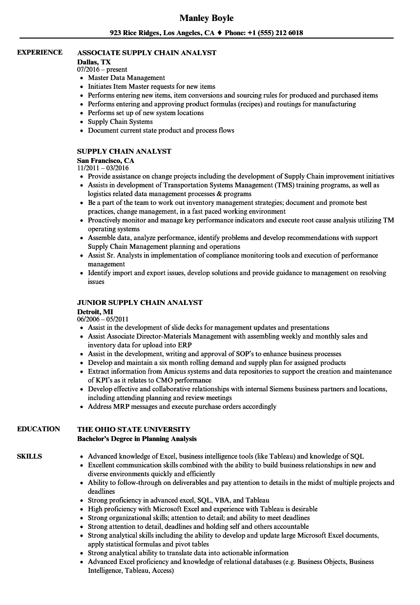 Supply Chain Analyst Resume Samples Velvet Jobs