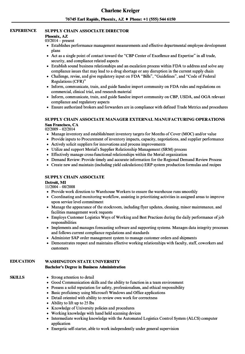 supply chain associate resume samples