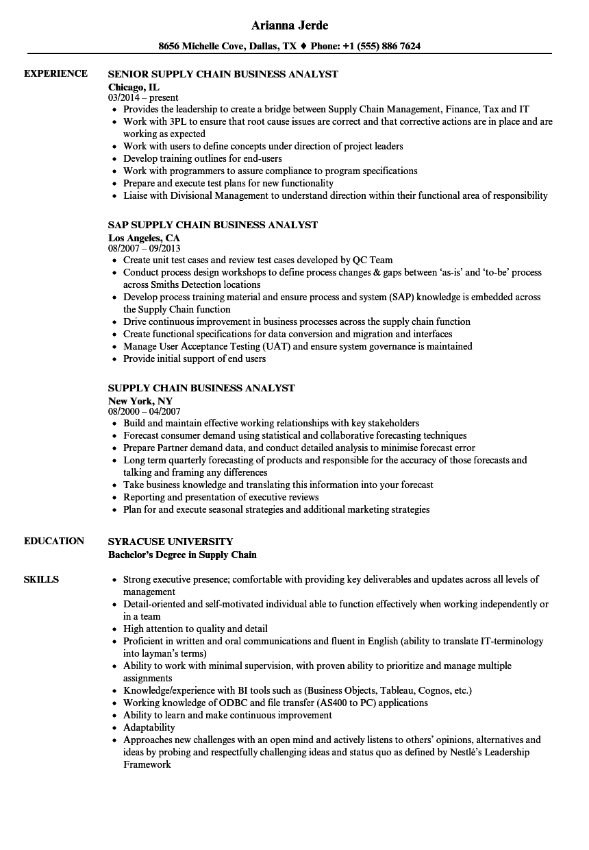 Download Supply Chain Business Analyst Resume Sample As Image File