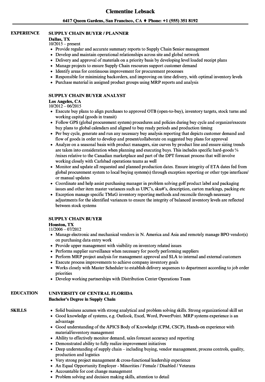 supply chain buyer resume samples