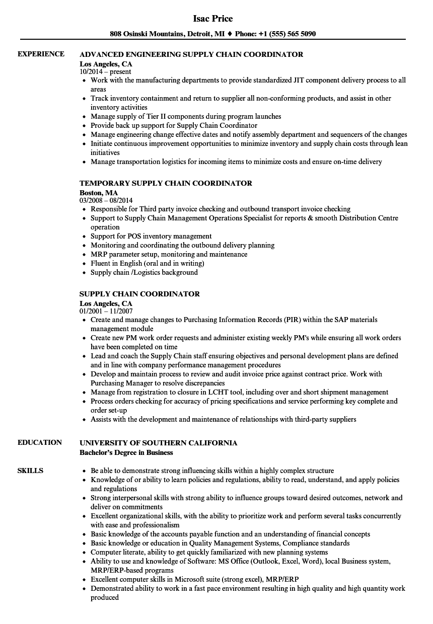 supply chain coordinator resume samples