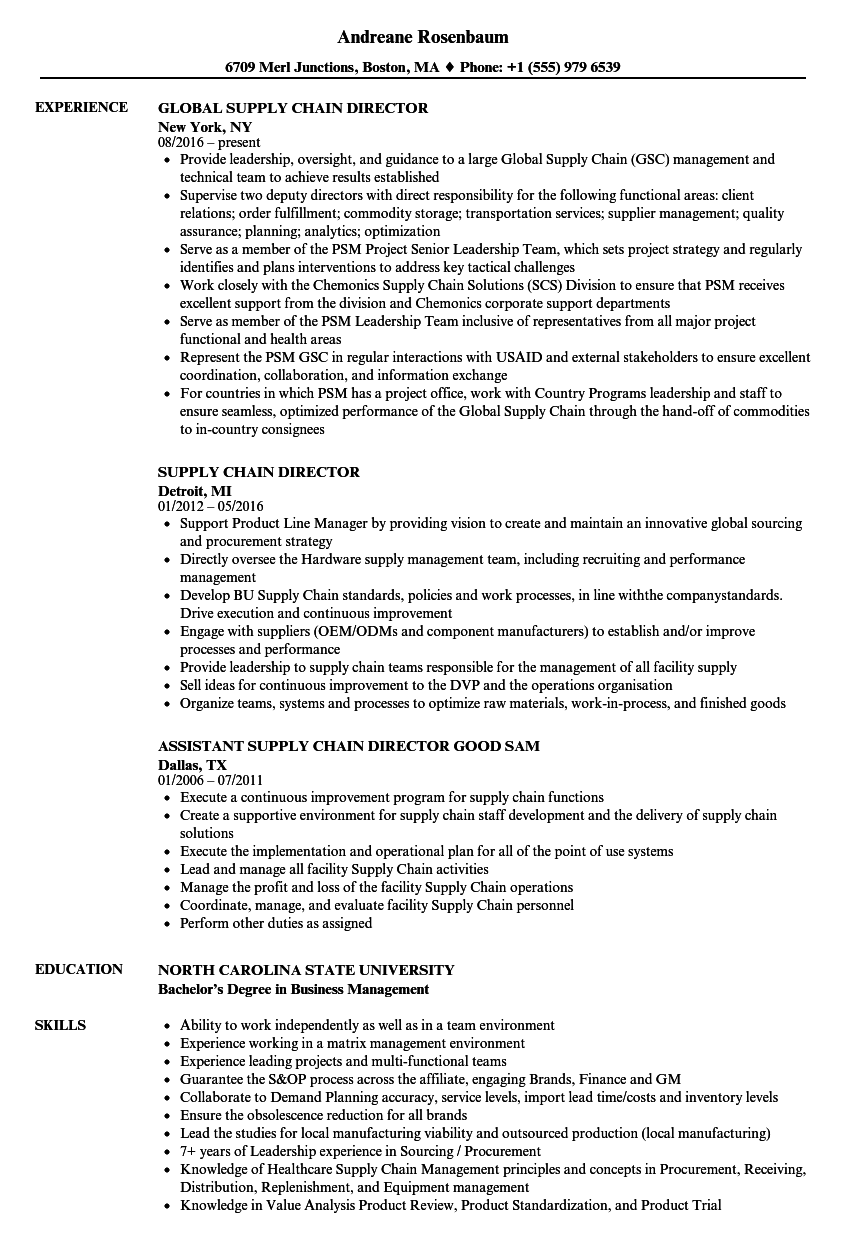 Supply Chain Director Resume Samples | Velvet Jobs
