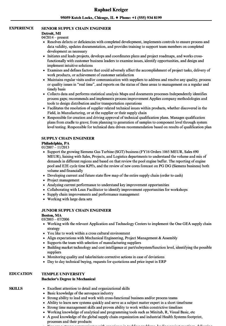 supply chain engineer resume samples velvet jobs