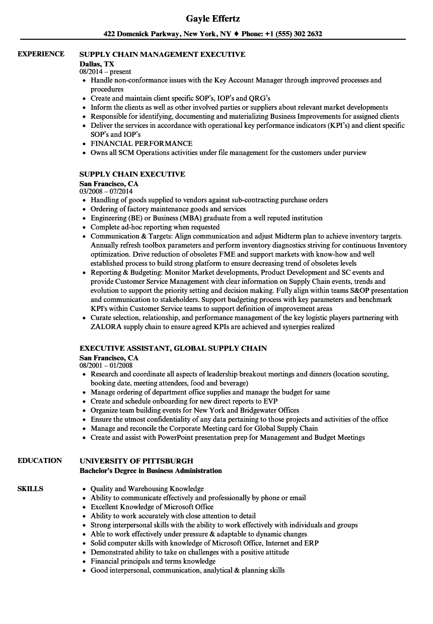 Supply Chain Executive Resume Samples | Velvet Jobs