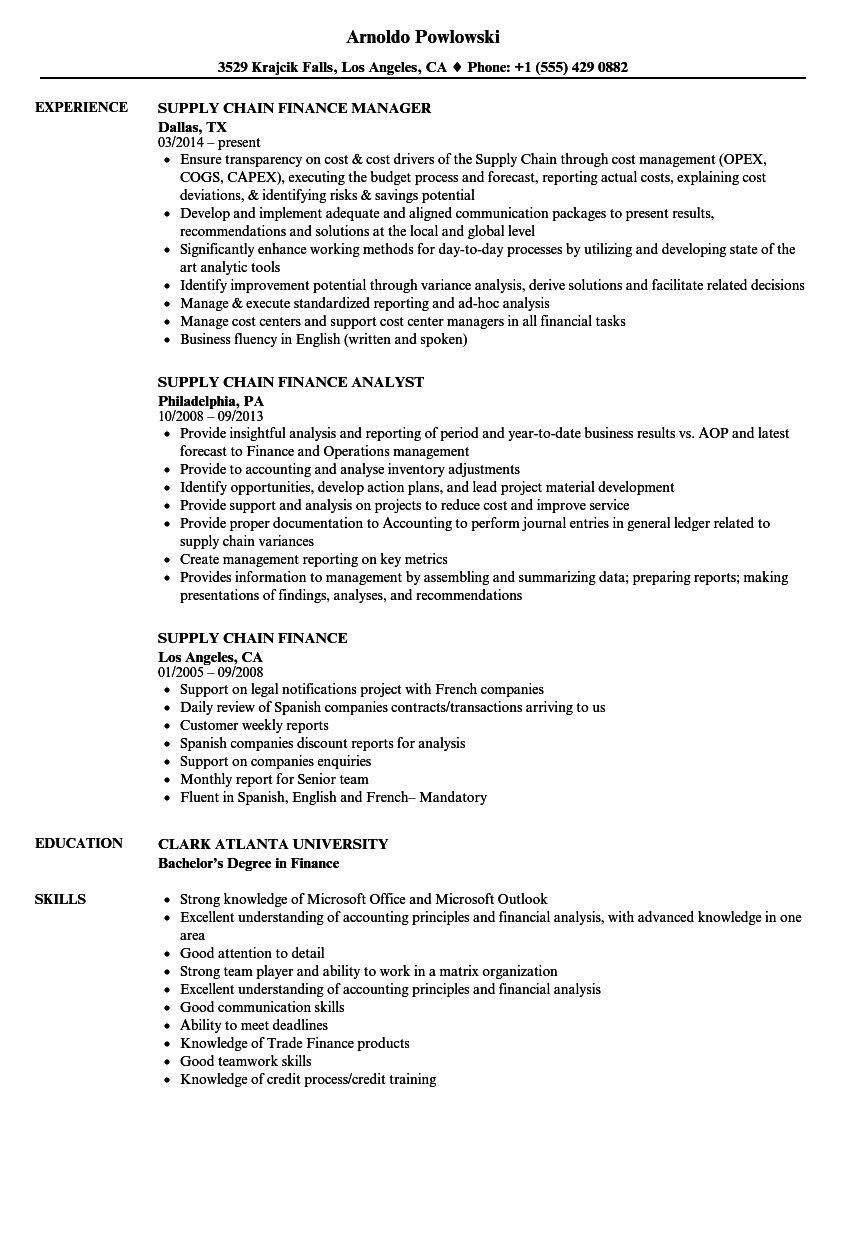 Supply Chain Finance Resume Samples | Velvet Jobs