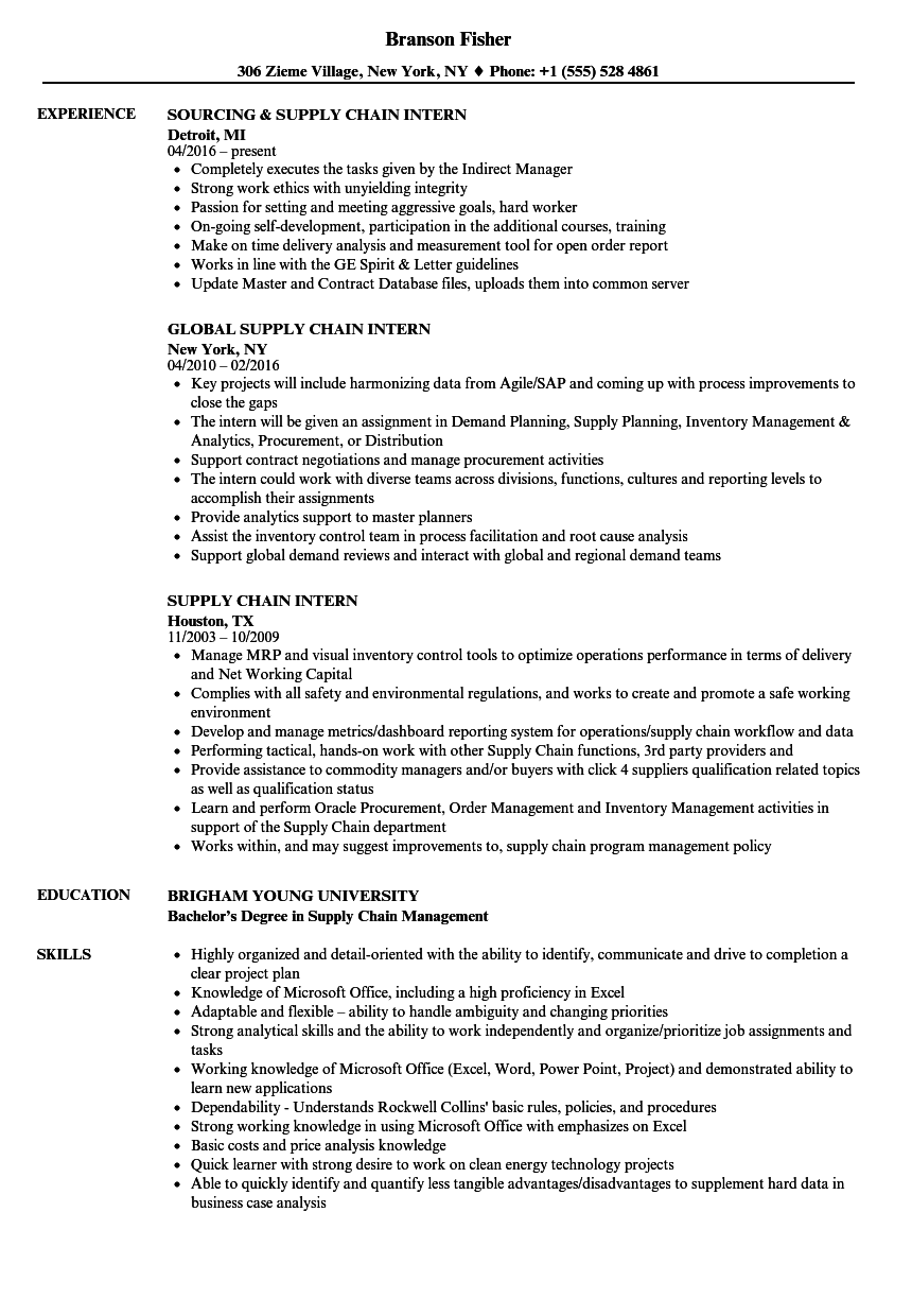 Supply Chain Intern Resume Samples Velvet Jobs