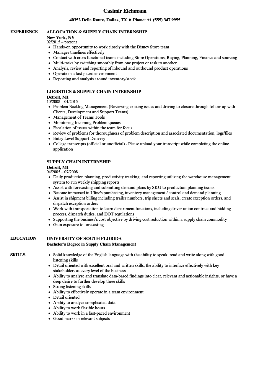 Supply Chain Internship Resume Samples | Velvet Jobs