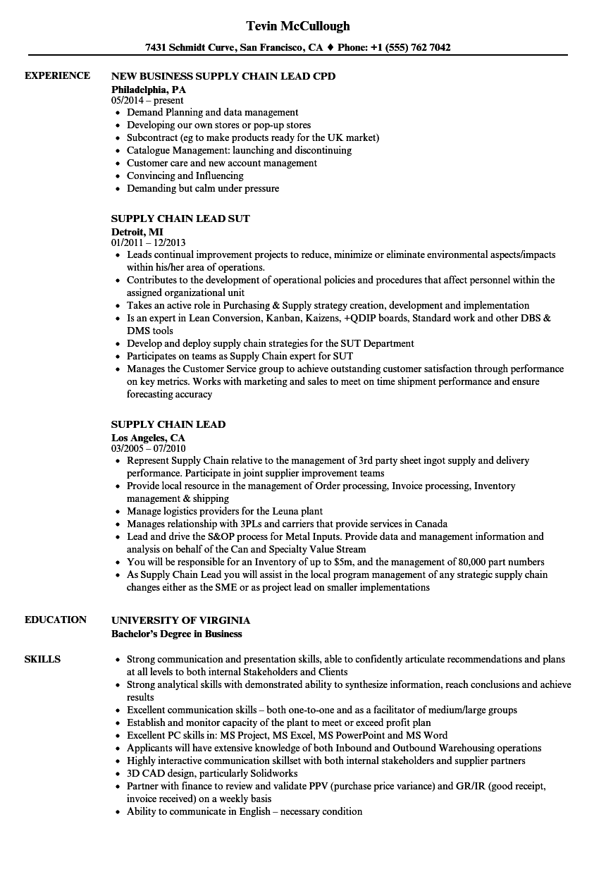 supply chain lead resume samples
