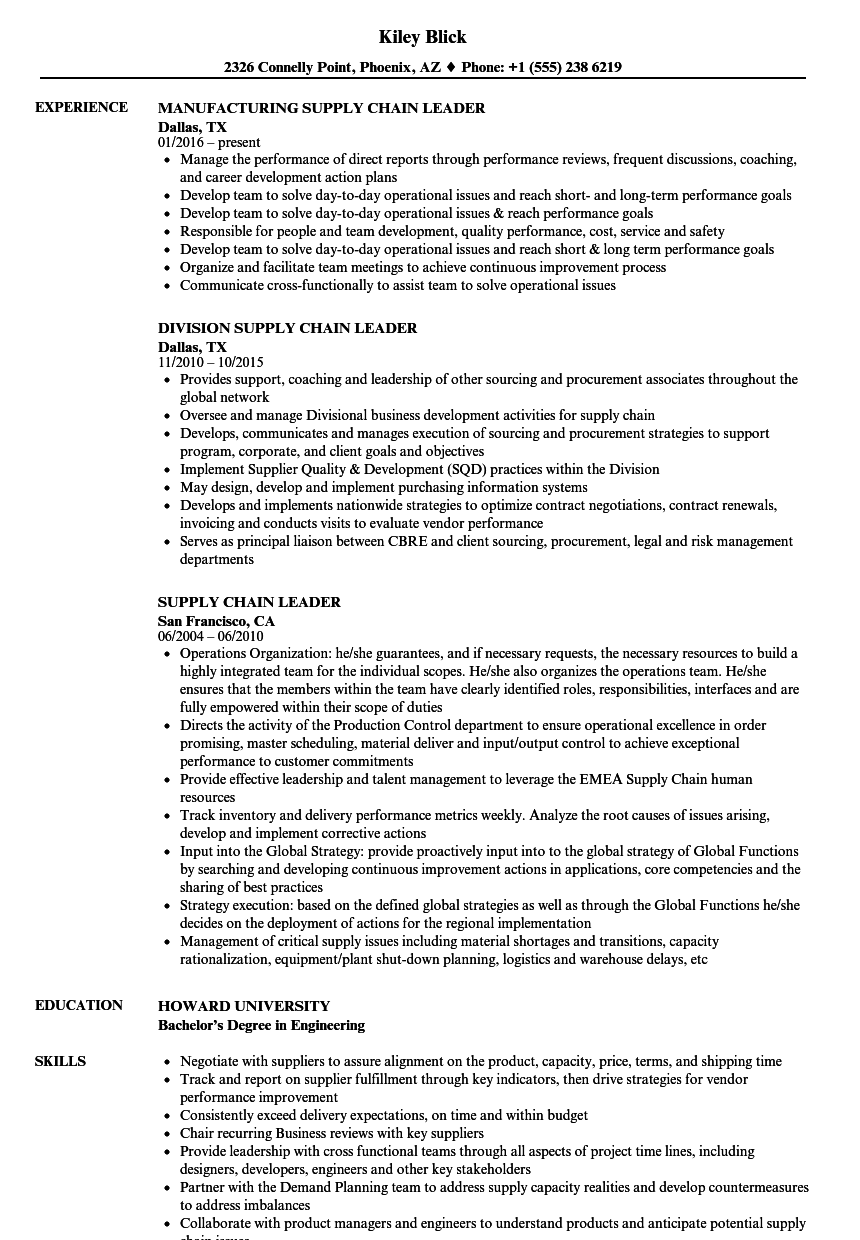 supply chain leader resume samples