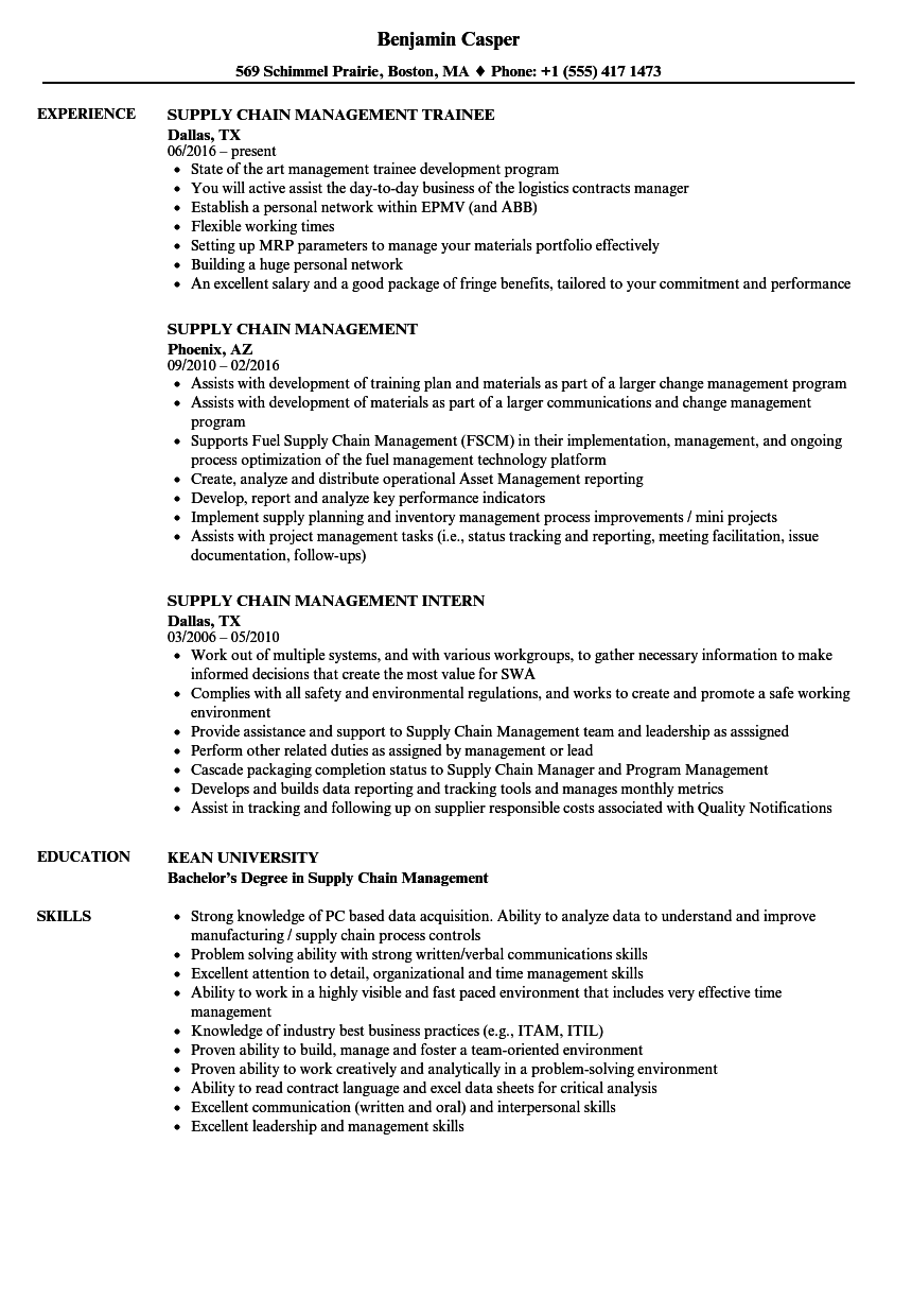 Download Supply Chain Management Resume Sample As Image File