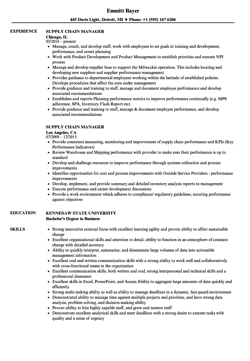 Supply Chain Manager Resume Samples Velvet Jobs