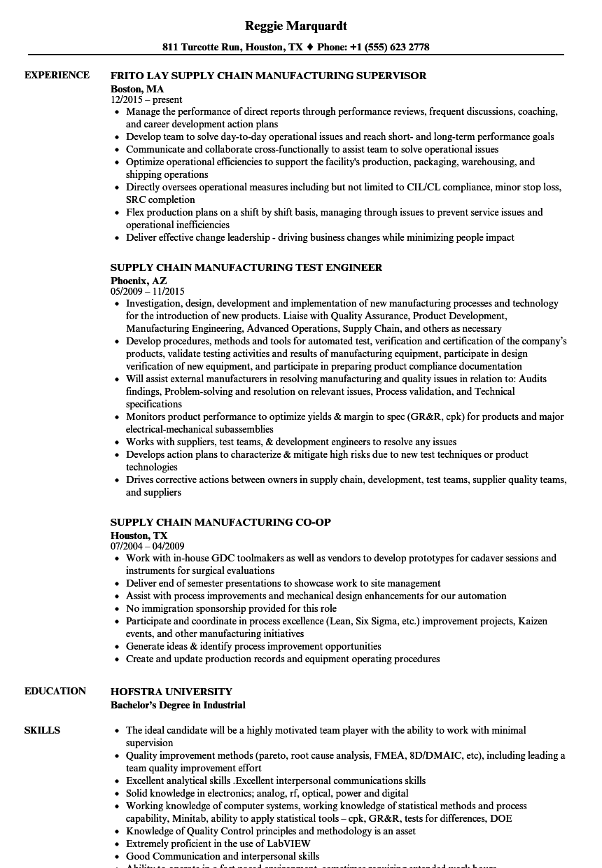 Supply Chain    Manufacturing Resume Samples