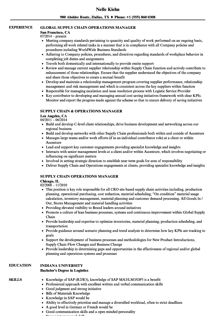 Supply Chain Operations Manager Resume Samples Velvet Jobs