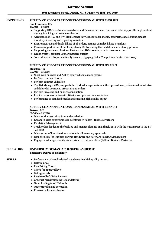 supply chain operations professional resume samples velvet jobs