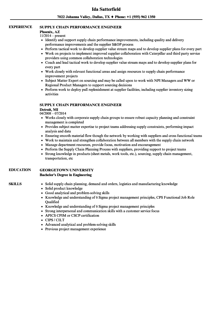 supply chain performance engineer resume samples