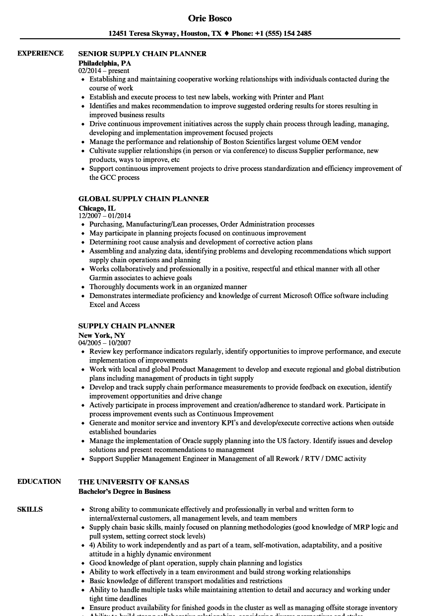 supply chain planner resume samples