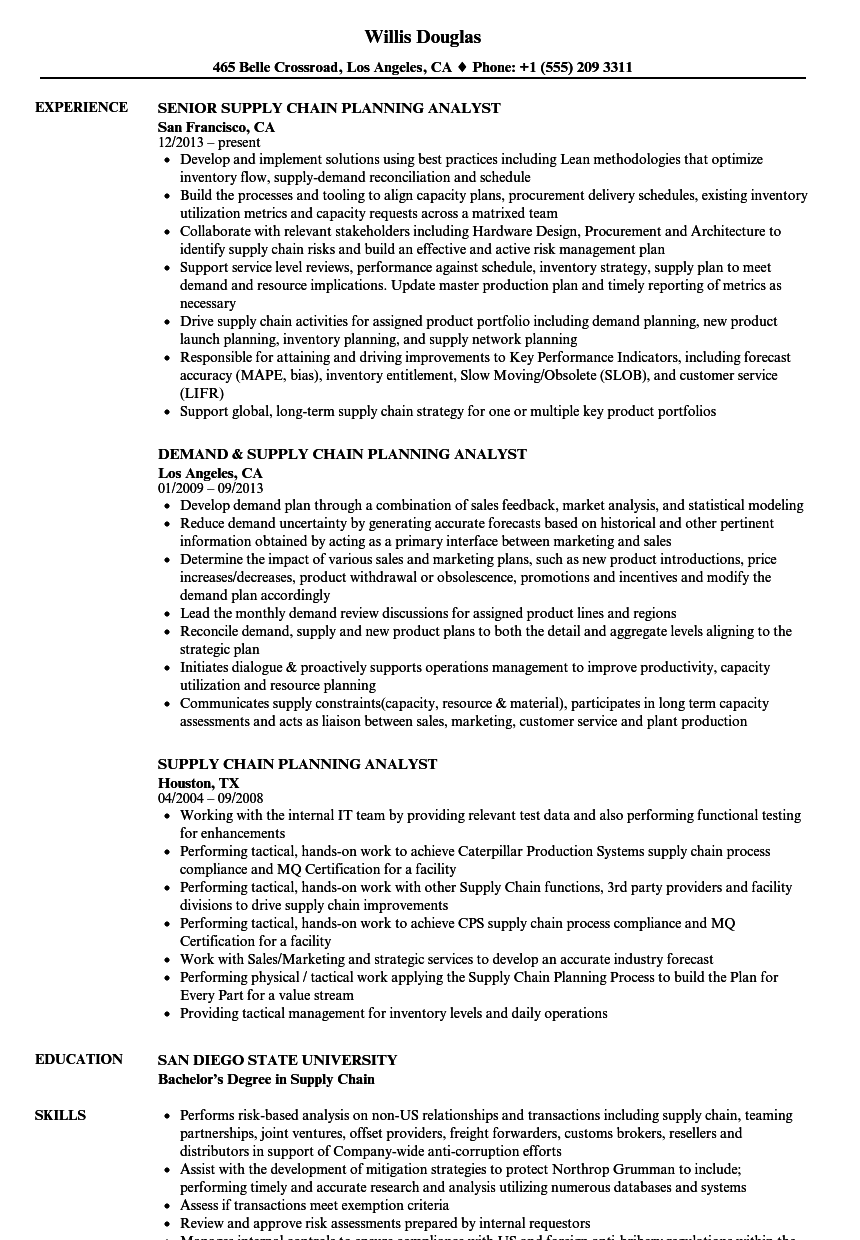 Supply Chain Planning Analyst Resume Samples Velvet Jobs