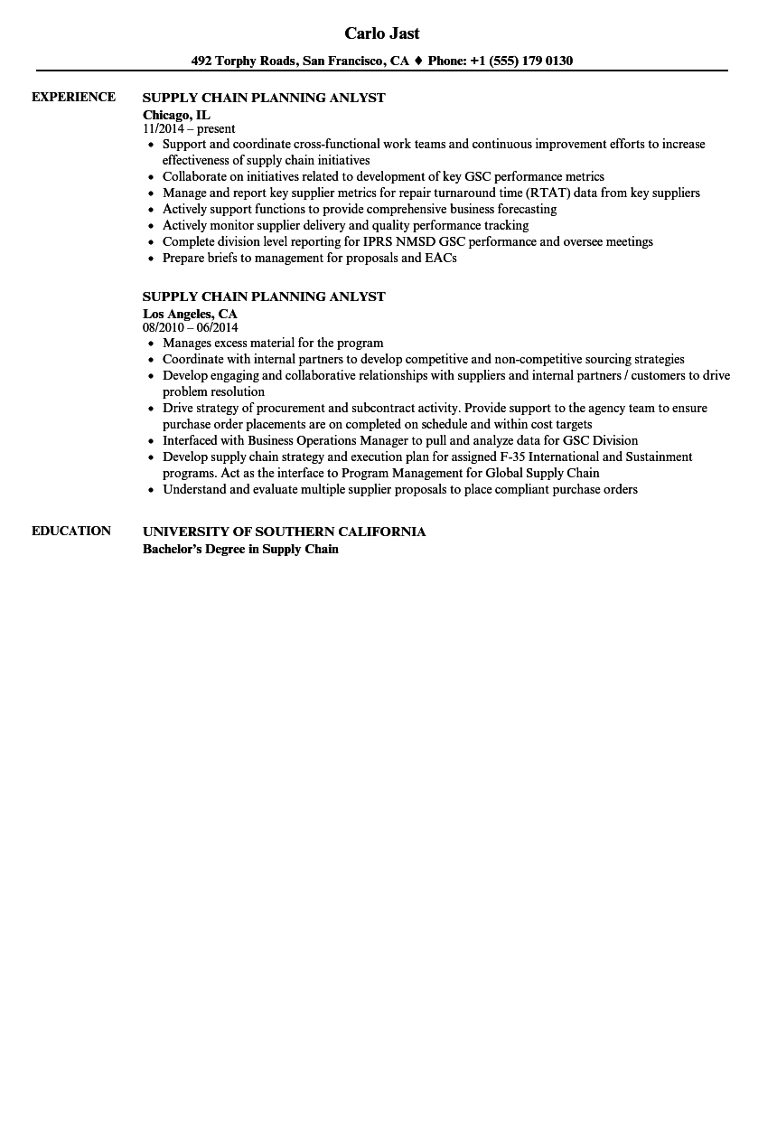 supply chain planning anlyst resume samples