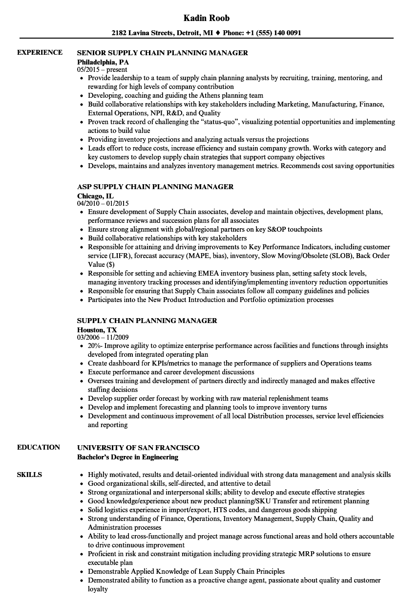 Supply Chain Planning Manager Resume Samples Velvet Jobs