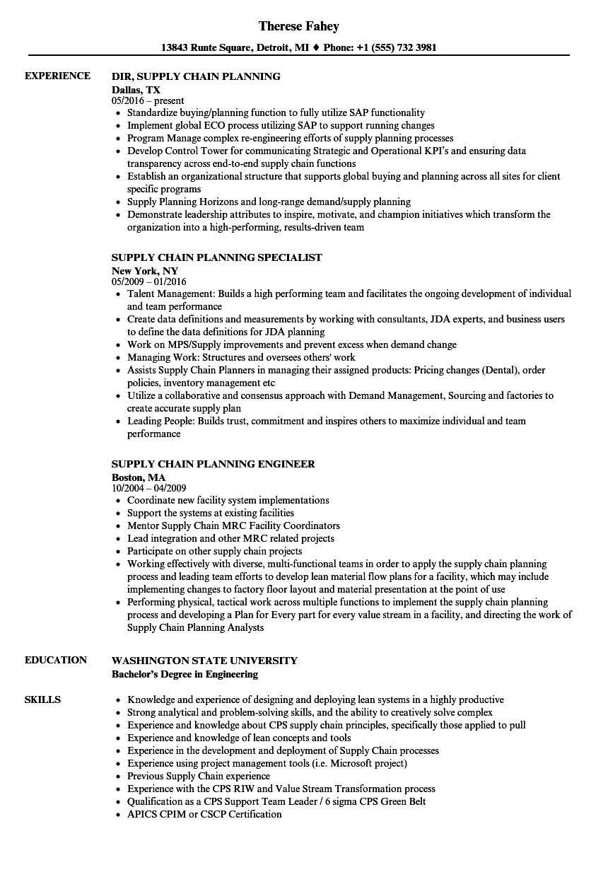 Download Supply Chain Planning Resume Sample As Image File