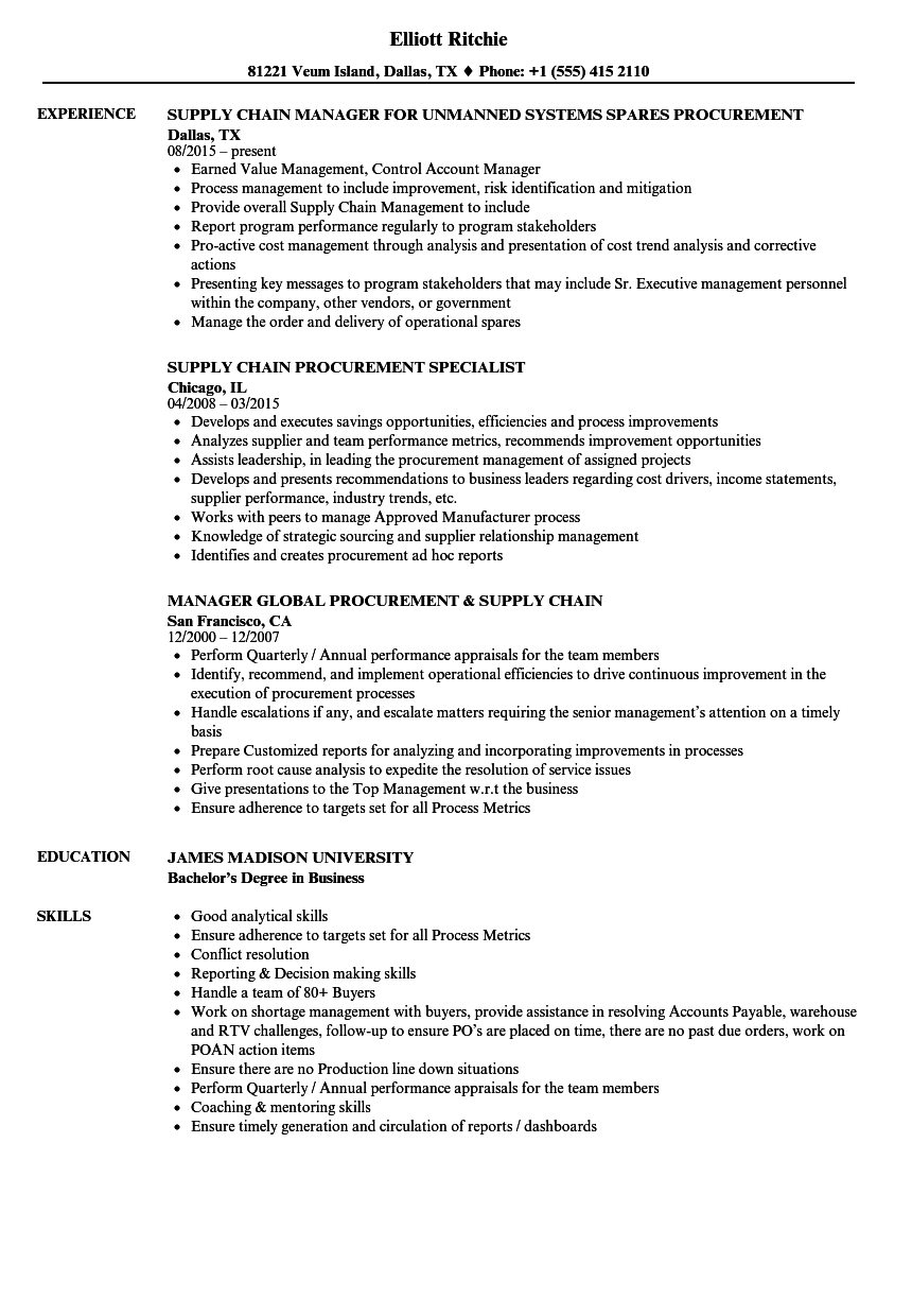 supply chain  u0026 procurement resume samples