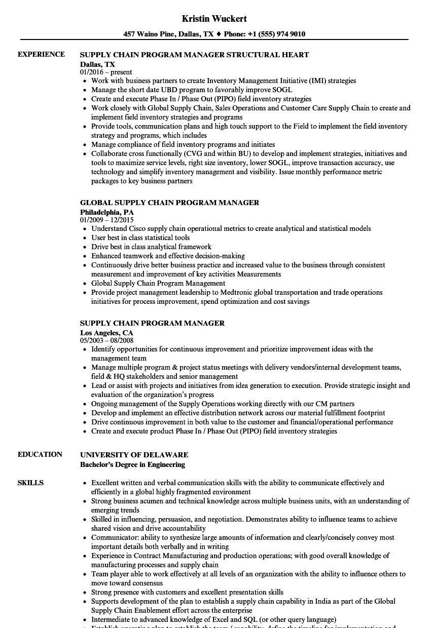 Supply Chain Program Manager Resume Samples Velvet Jobs