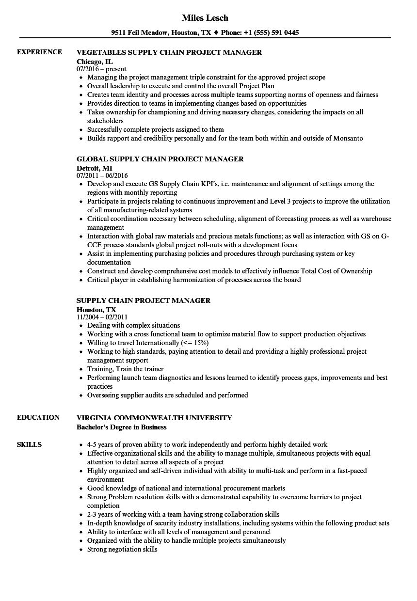 supply chain project manager resume samples