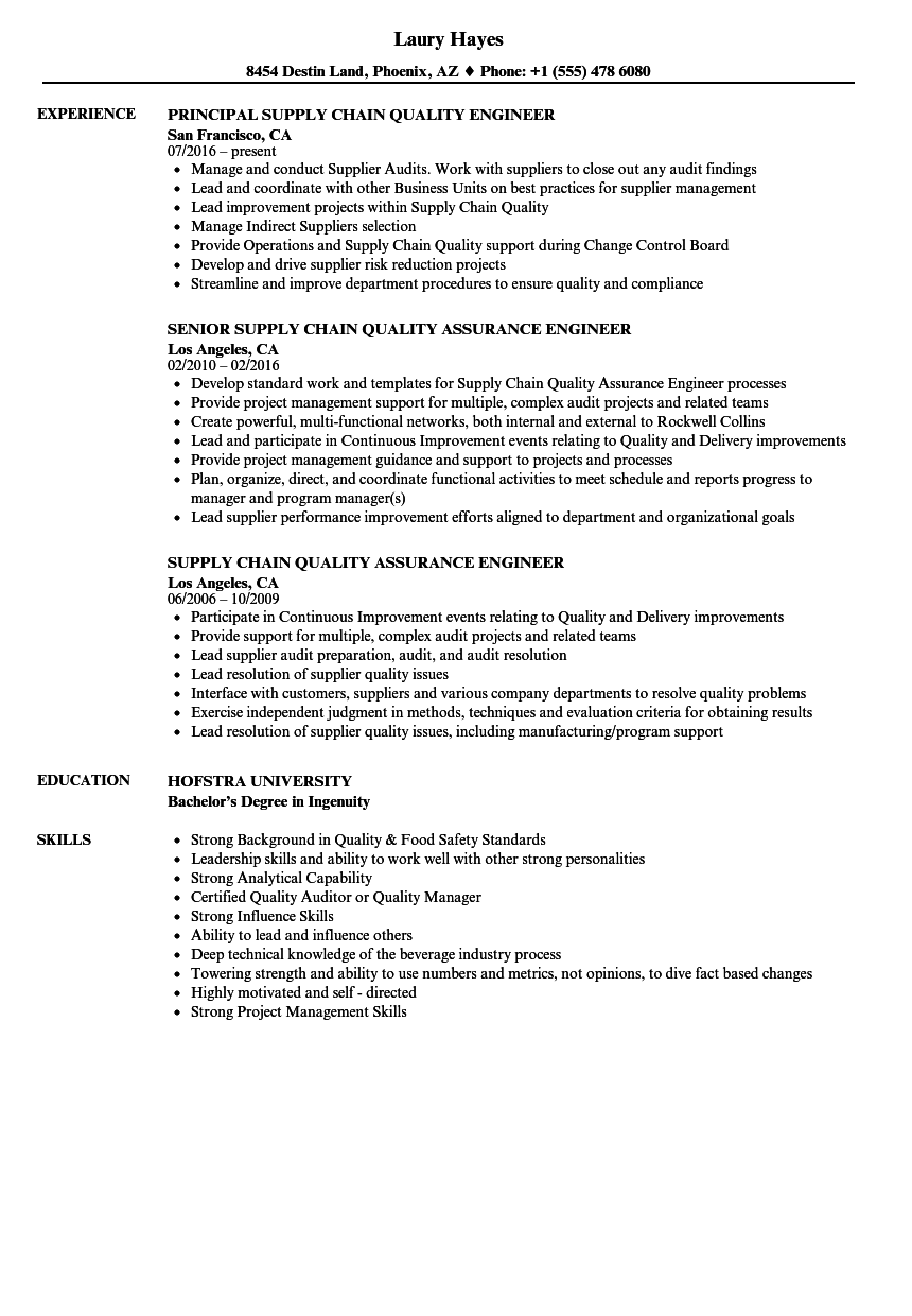 supply chain quality resume samples
