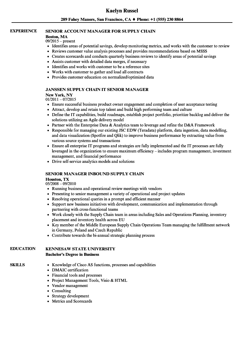 supply chain  senior manager resume samples