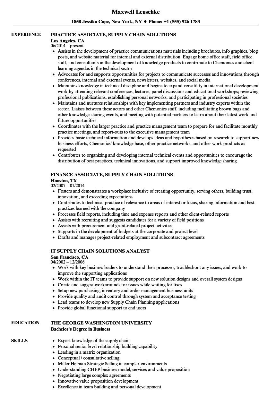 Supply Chain Solutions Resume Samples | Velvet Jobs