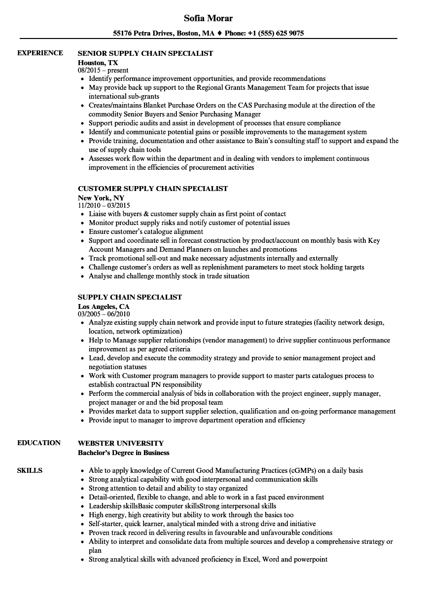 supply chain specialist resume samples