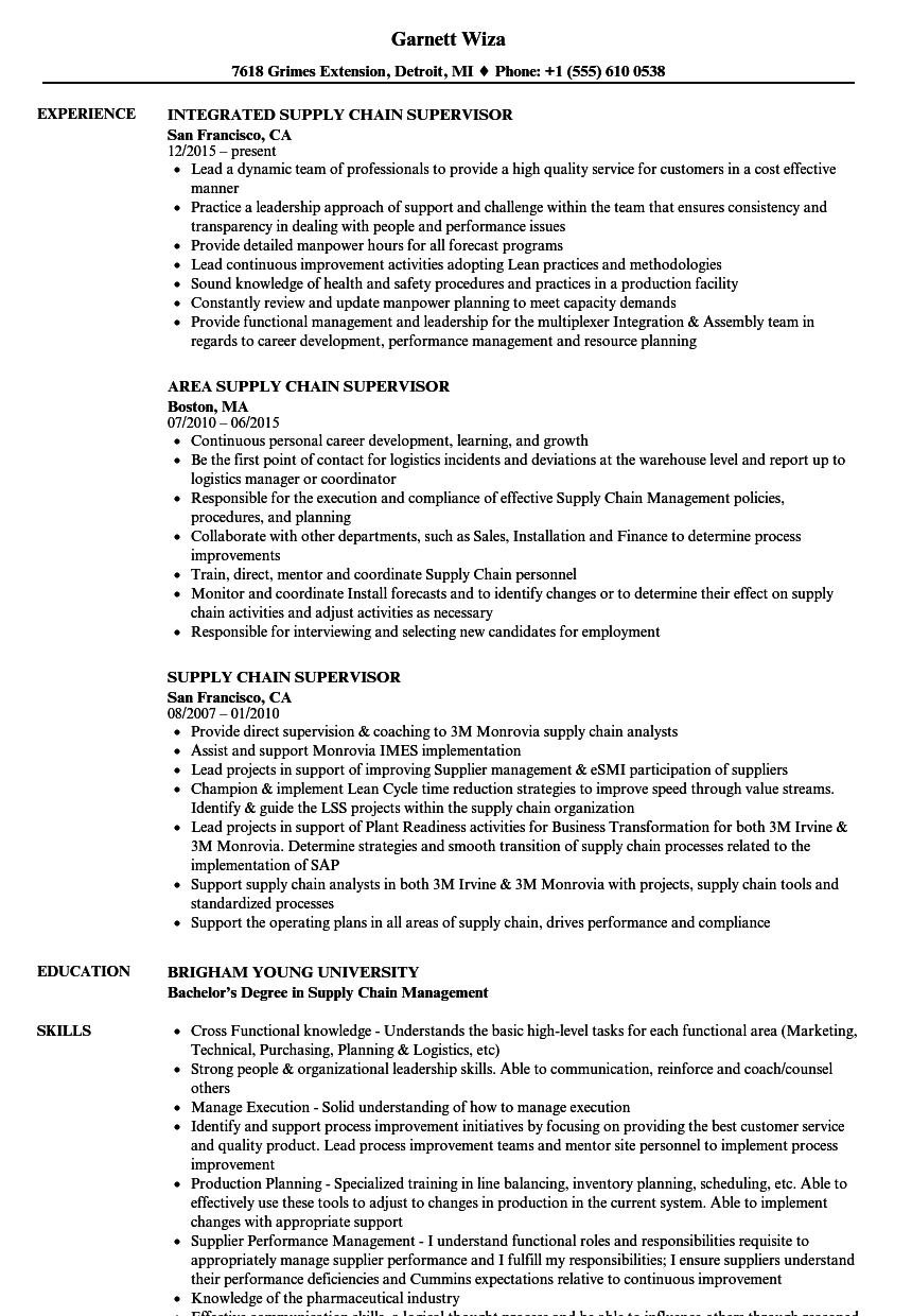 Supply chain supervisor resume samples velvet jobs for Resume samples for supervisor positions
