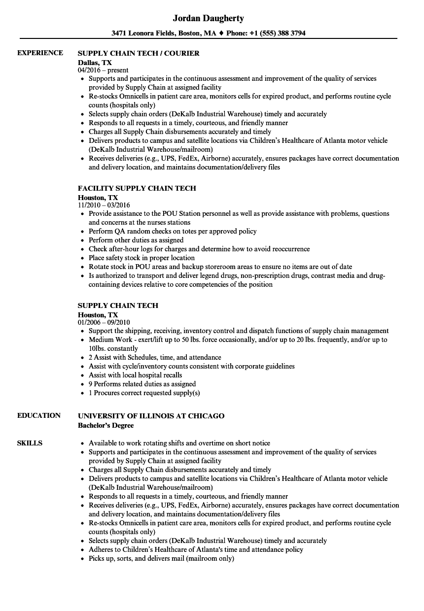 Supply Chain Tech Resume Samples Velvet Jobs