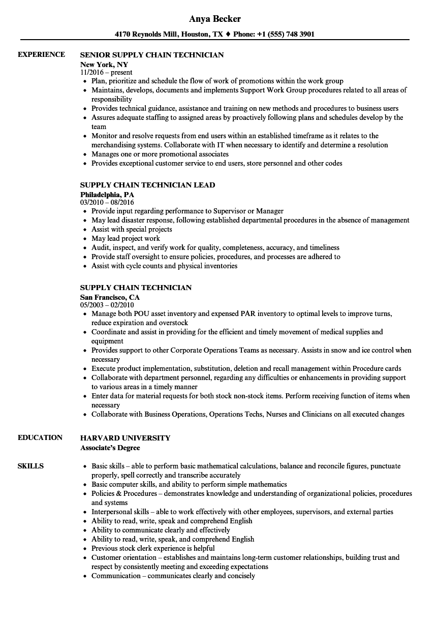 Download Supply Chain Technician Resume Sample As Image File
