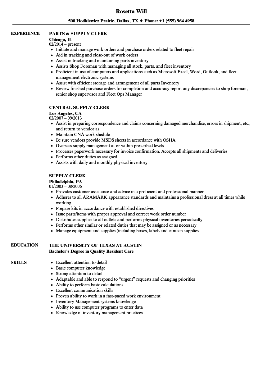 Supply Clerk Resume Samples | Velvet Jobs