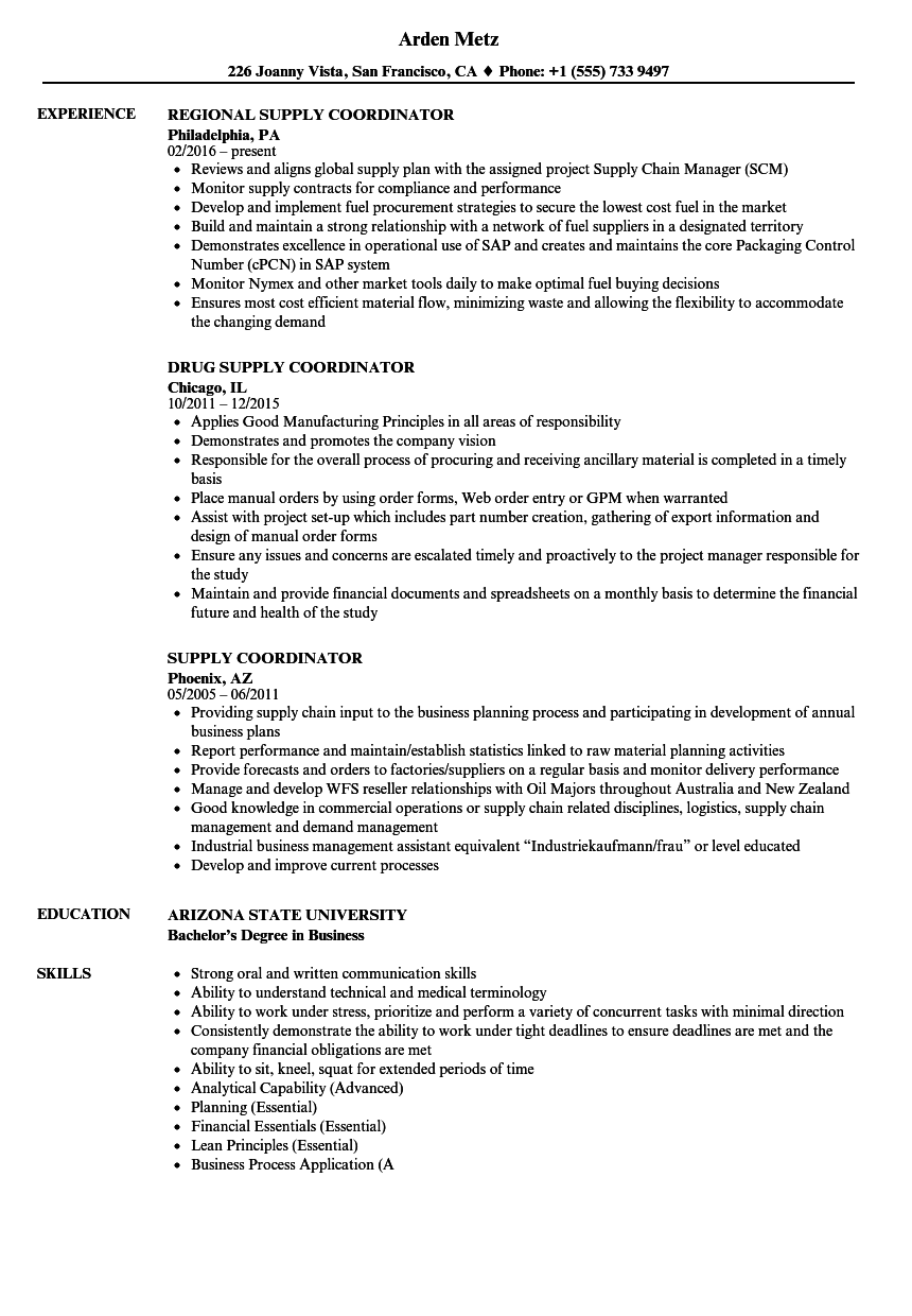 Supply Coordinator Resume Samples Velvet Jobs