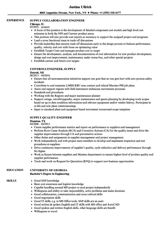supply engineer resume samples  velvet jobs