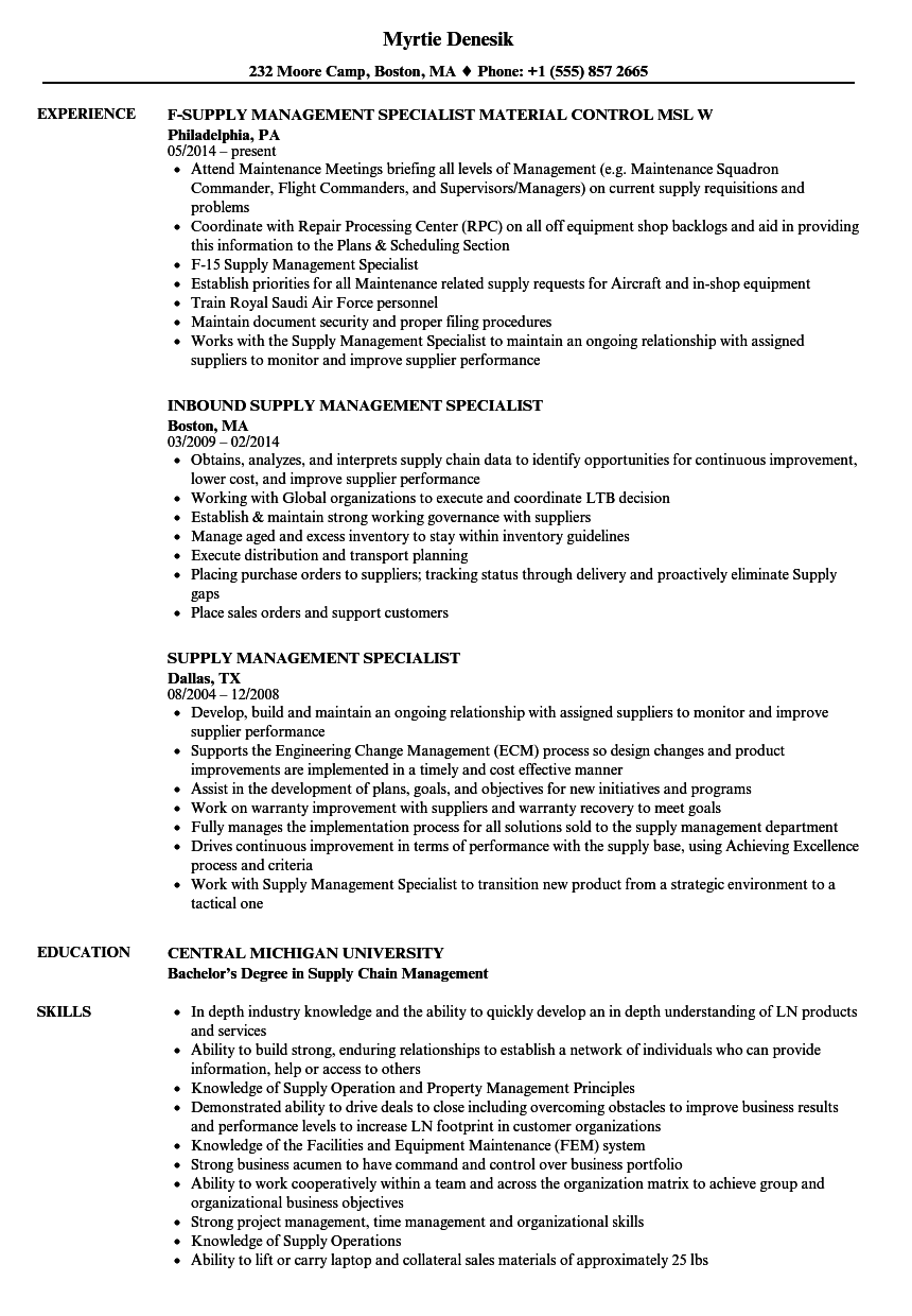 Supply Management Specialist Resume Samples | Velvet Jobs