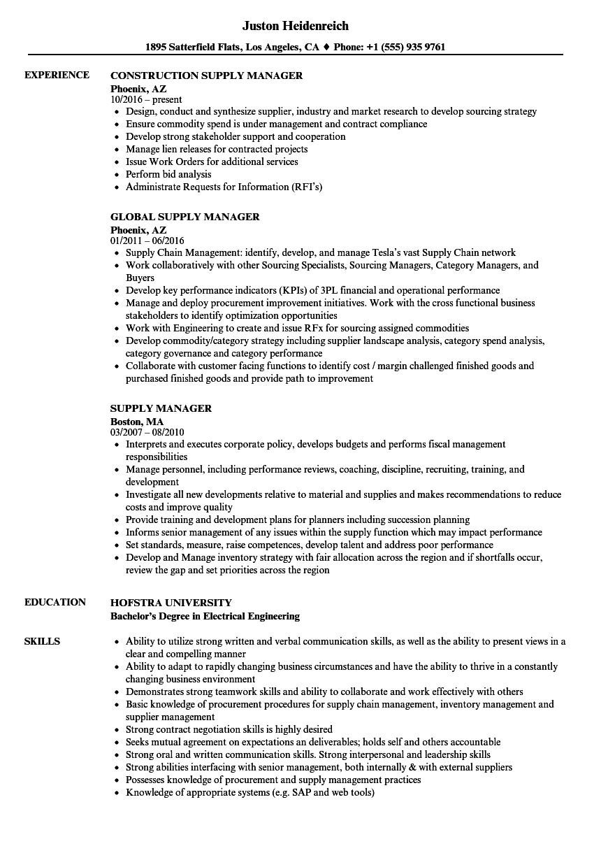 Supply Manager Resume Samples | Velvet Jobs