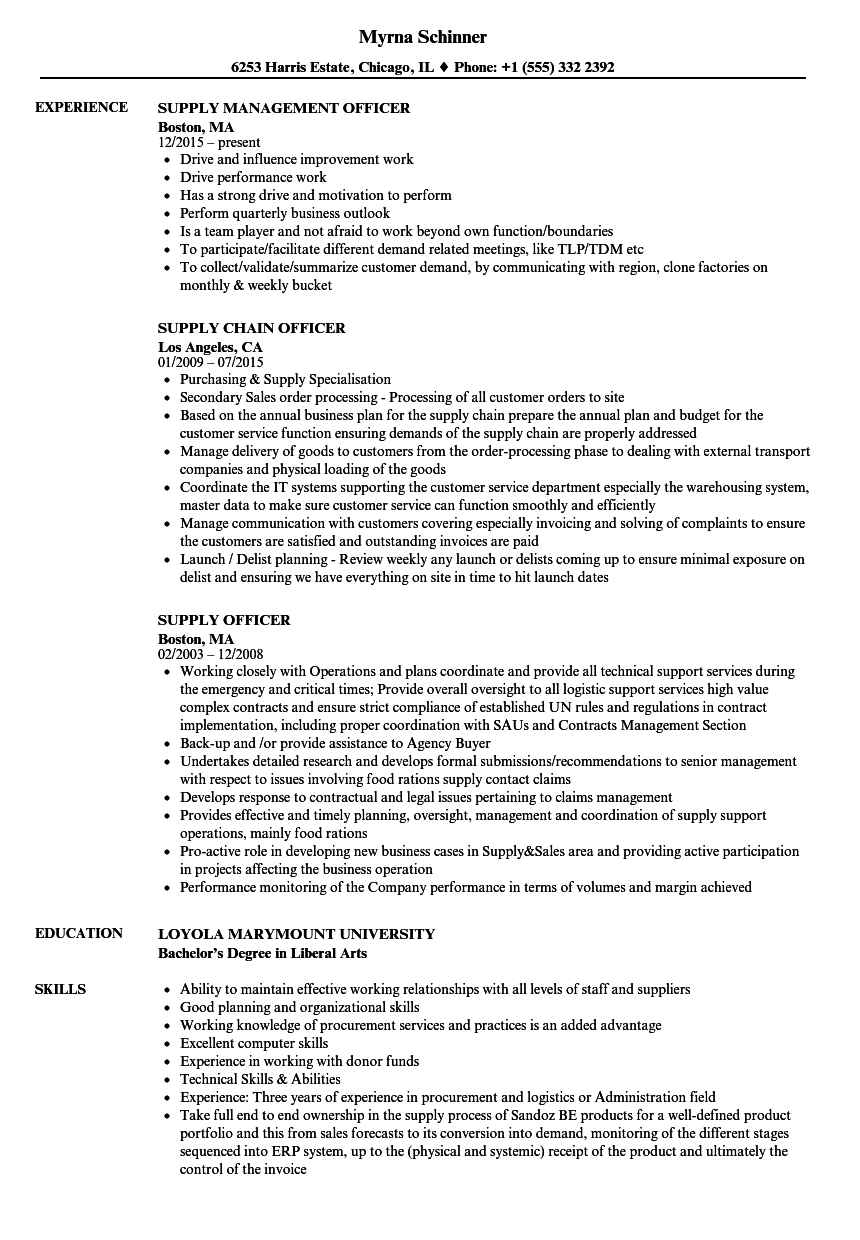 supply officer resume samples