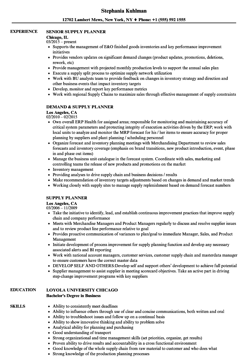 Download Supply Planner Resume Sample As Image File