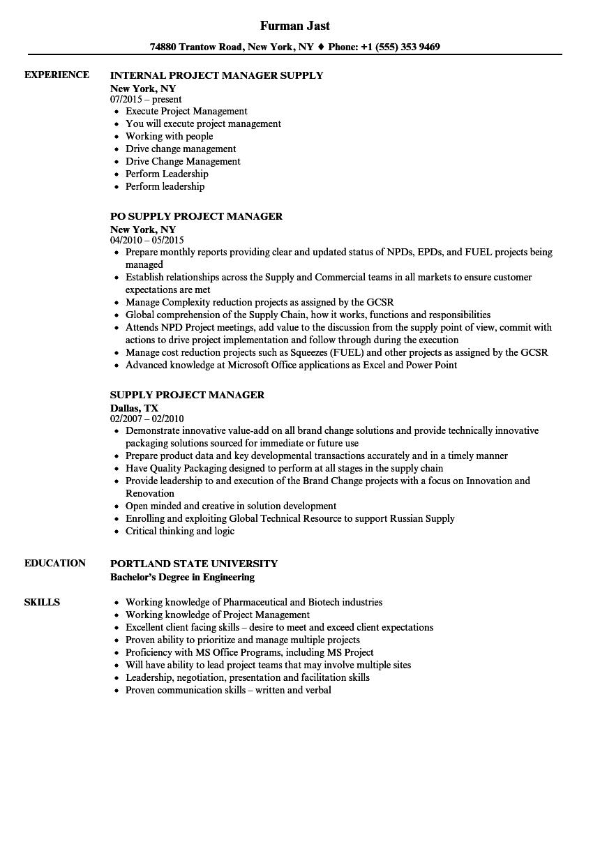 Supply Project Manager Resume Samples Velvet Jobs