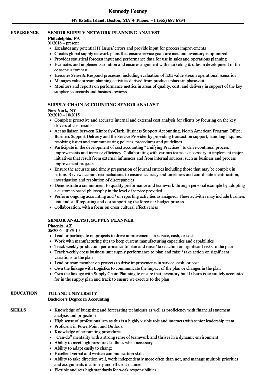 Supply Senior Analyst Resume Samples Velvet Jobs