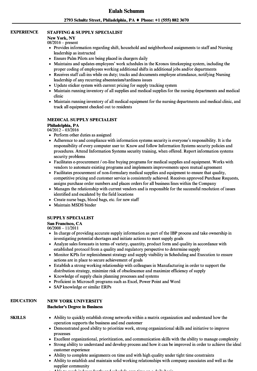Supply Specialist Resume Samples Velvet Jobs