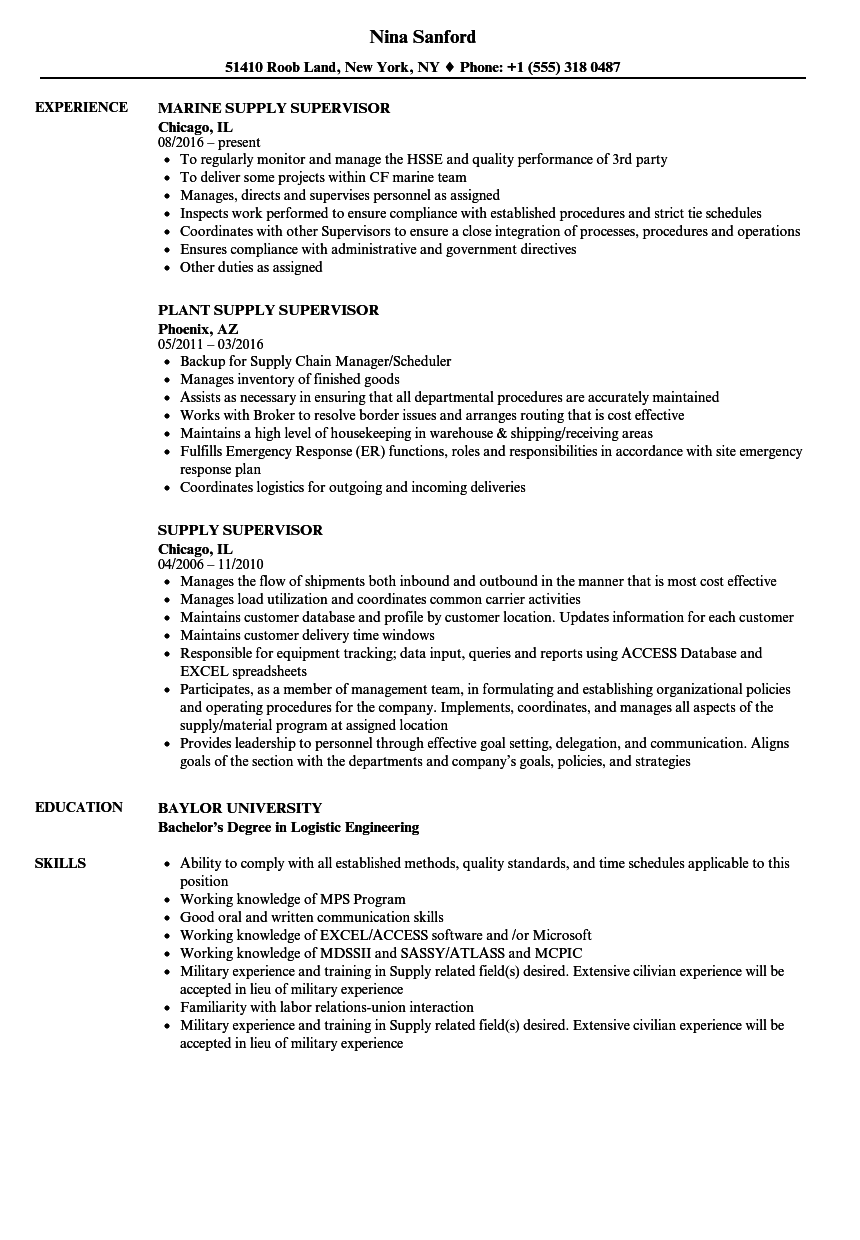 download supply supervisor resume sample as image file - Marine Resume Examples