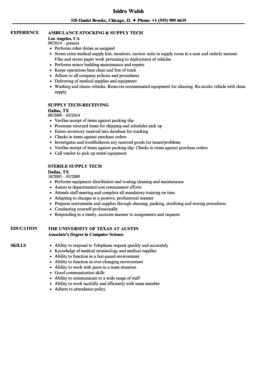 Supply Tech Resume Samples Velvet Jobs