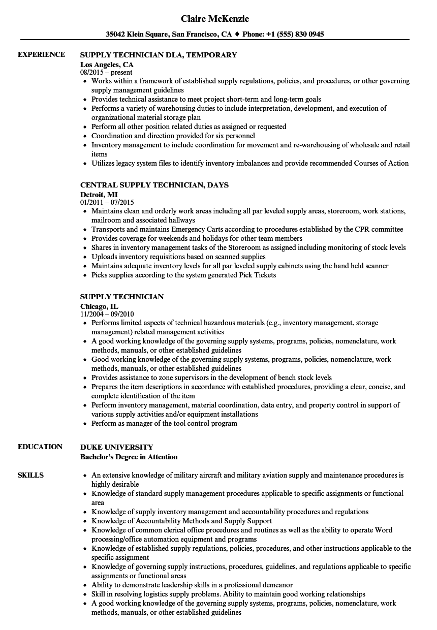 Supply Technician Resume Samples Velvet Jobs
