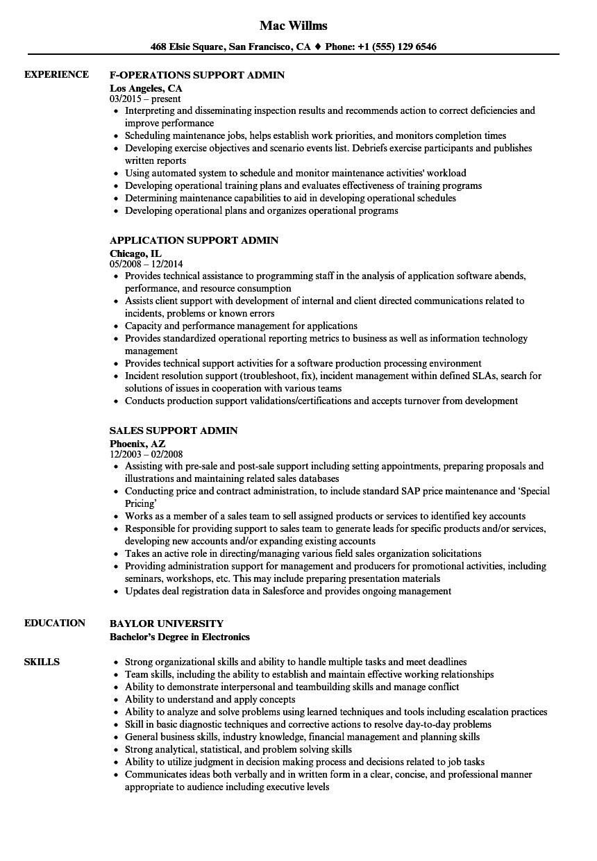 support  u0026 admin resume samples