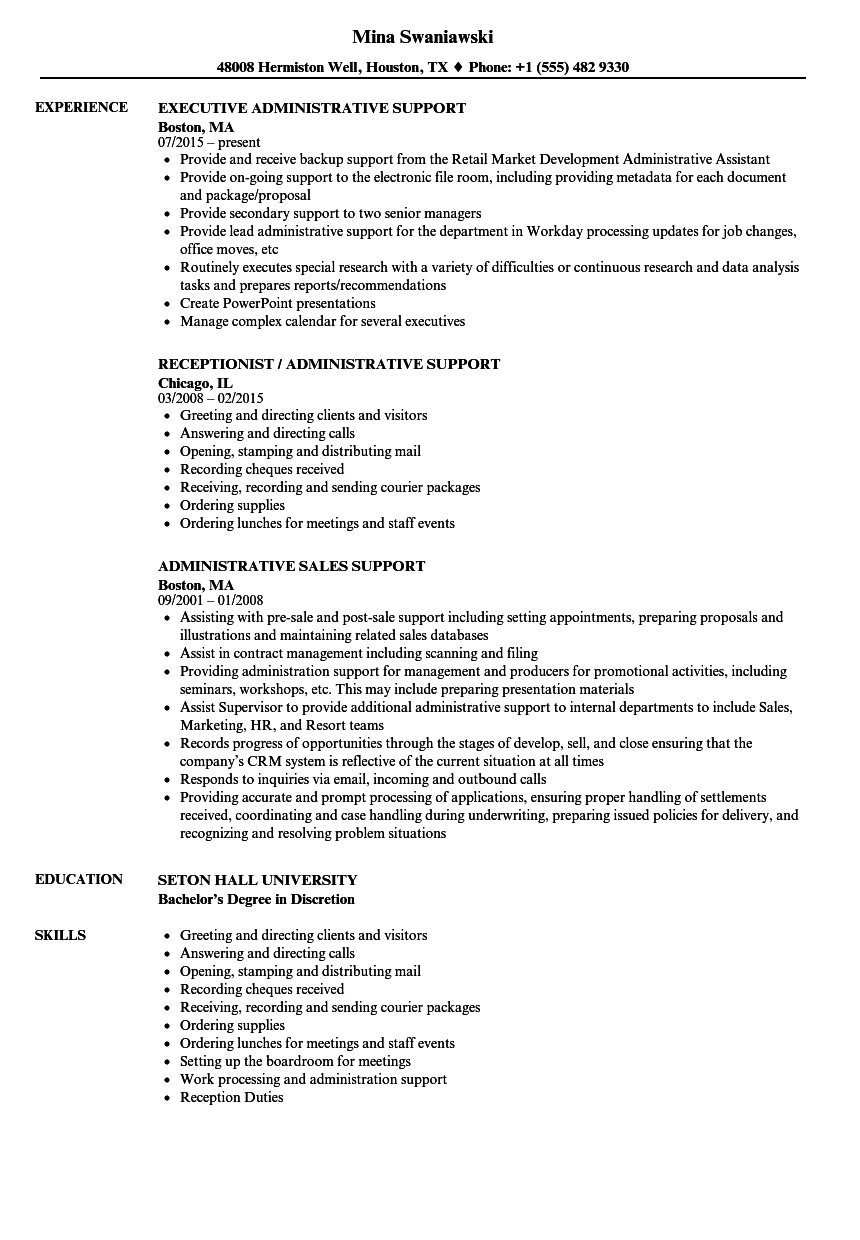 Superb Download Support, Administrative Resume Sample As Image File