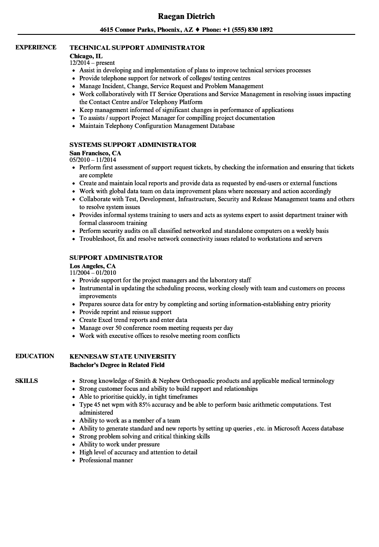 Support Administrator Resume Samples | Velvet Jobs